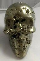 Gorgeous pyrite crystal skull, Peru, 566.4 grams!!!  AAA fools gold!!
