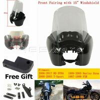 """Motorcycle Front Headlight Fairing + Adjustable 15"""" Windshield For Harley Dyna"""