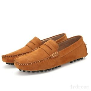 New Mens Suede Slip On Loafers Casual Mocassin Gomminos Driving Breathable Shoes