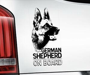 GERMAN SHEPHERD Sticker,  Alsatian GSD Dog Car Stickers Window Decal - V01B BLK