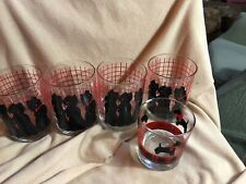"Dept 56 Set -4 Drinking Glasses Terrier Scotty Scottie Dog Rock 4.25x3"" & 1 -3"""