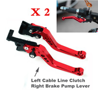 2Pcs Universal Red CNC Motorcycle Drum Disc Hydraulic Line Brake Clutch Lever