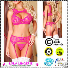 Sexy Ensemble Haute + Porte Jarretelle + String + Bas Lingerie Coquine Body Rose