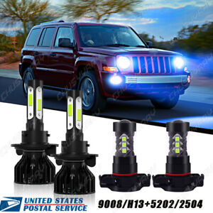 Fit For Jeep Patriot 2011-2017 LED Headlight Hi/Low Beam + Fog Light 4x Bulbs