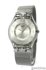 New Swiss Swatch Skin Metal Knit Steel Mesh Band Watch 35mm SFM118M $125