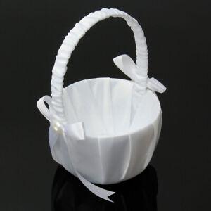 Romantic Heart Wedding Flower Girl Basket Rhinestone Decor White Ceremony