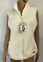 Free Country Plush Womens Fleece Vest Size S Small Cream White NEW MSRP $70