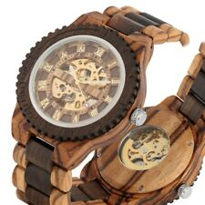 Antique Men's Wood Watch Sandalwood Auto Mechanical Wristwatch Full Wooden Band