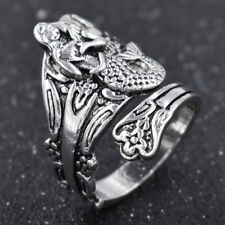 Vintage Mermaid Flower Spoon Ring Unisex Jewelry Charm For Party Adjustable