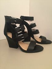 Very Volatile Martel Black Leather Wedge Heel Sandals Size 7M *NEW