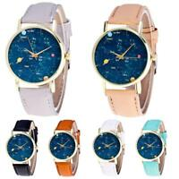 Women Ladies Starry Sky Dial Watch Leather Band Quartz Analog Wrist Watches Gift