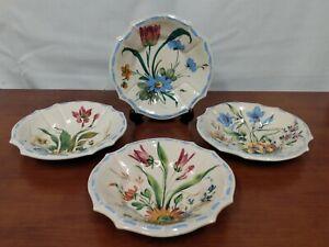 352 Italy Signed NOVE ROSE Floral Blue Majolica Mid Century Set DESSERT BOWLS 4