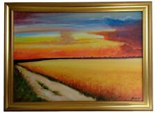 Country Lane Original Oil Painting On Canvas Framed Landscape Field Sunset Sky