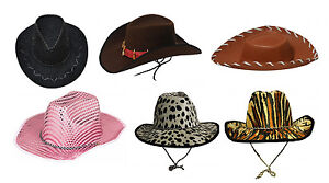 Mens Womens Cowboy and Cowgirl Hat Eva Cowboy Leopard Hat Adult Fancy Dress