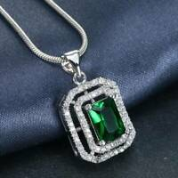 925 Silver Rectangle Emerald Snake Chain Pendant Necklace Women Wedding Jewelry