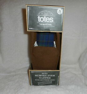 TOTES TOASTIES BROWN MEMORY FOAM NON SKID BEDROOM SLIPPERS MENS XL 11-12 NEW
