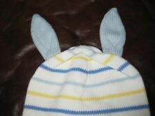 NWT NEw Hanna Andersson Baby Sweater Knit bunny blue stripe hat Great gift!  XS