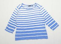 Isle Womens Size 10-12 Striped Cotton Blue T-Shirt (Regular)
