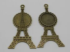 10 Antique Bronze Eiffel Tower Pendant Cameo Cabochon Setting Blank Inner:20mm