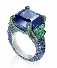 asscher Cz Women 925 Sterling silver cocktail statement party Ring inspired Blue