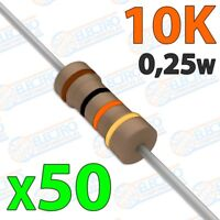 Resistencia 10K ohm 0,25w ±5% 300v - Lote 50 unidades - Arduino Electronica DIY