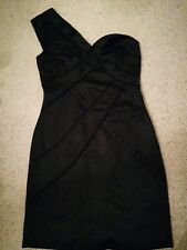 SZ 12 SPECIAL EDITION 'RED HERRING' ONE SHOULDER SILKY FITTED LITTLE BLACK DRESS