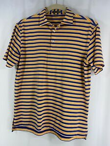 Peter Millar Summer Comfort Men Purple Orange Stripe Sh/Sleeve Polo Golf Shirt M