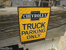 Chevrolet TRUCK PARKING Only Diamondplate embossed raised Metal displa  Garage