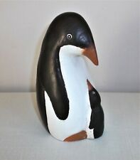Hand Crafted Wooden Penguin Mother & Baby Figure