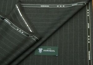 DORMEUIL 'ASCOT' BROWN/CHARCOAL STRIPE WOOL SUITING FABRIC 3.5M -MADE IN ENGLAND