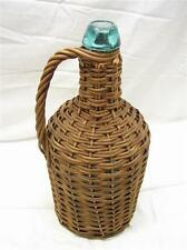 Early Wicker Covered Rattan Demijohn Aqua Blue Handled Bottle Carboy Blob Top