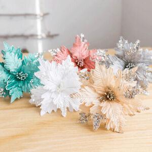 Artificial Decor Poinsettia Christmas Tree Flowers Glitter Ornament Xmas Gift