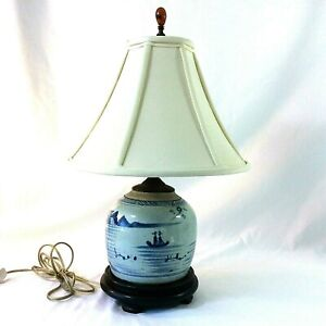 "CANTON ANTIQUE GINGER JAR TABLE LAMP SHADE ORANGE FINIAL BLUE WHITE 19"" H 1800s"