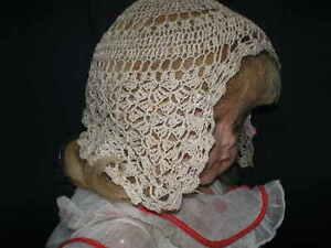 True ANTIQUE Hand Crocheted Dark Cream Baby Night Cap Hat Bonnet