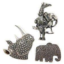 3 3 Vintage Plata 925 Marcasita Safari Animales, Elefante, Rinoceronte Broche