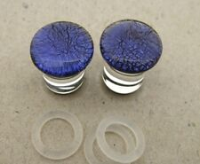 Pair Dichro Pyrex COLBALT BLUE 00g 10MM plugs SINGLE FLARE PLUG