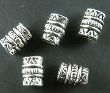 60pcs Long Courbé Tube Beads Tibetan Silver Jewelry Findings Loose Spacer