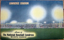 1940s Linen Postcard: Lawrence Baseball Stadium at Night - Wichita, Kansas KS