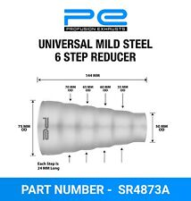 Universal mild steel exhaust 6 step reducer adapter connector tube pipe cone