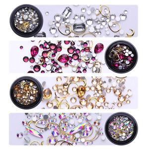 4 Boxes Nail Rhinestones Nail Art 3D Decoration Flat Bottom Alloy Studs Mix Set