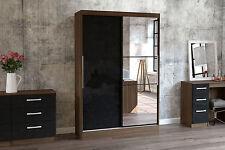 Birlea Lynx High Gloss Black & Walnut Mirror 2 Door Sliding Slider Wardrobe