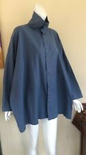 Eskandar 1 Rare STONE Jean Blue Variegated Cotton Stand-Collar Box Shirt Top