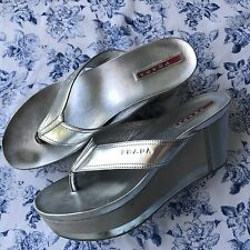 PRADA Silver Wedge Thong Sandal Sz 37.5 US 7.5 Platform Shoe AUTHENTIC 2Y4727