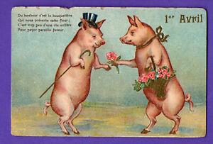 FRANCE April Fools' Day PIG VINTAGE POSTCARD 175