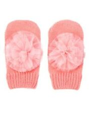 GYMBOREE SNOWFLAKE GLAMOUR CORAL w/ PINK TULLE SWEATER MITTENS 12 24 2 3 4 5 NWT