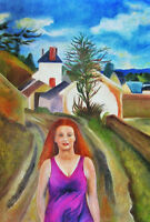 """perfact 24x36 oil painting handpainted on canvas """"woman ,house""""NO3677"""