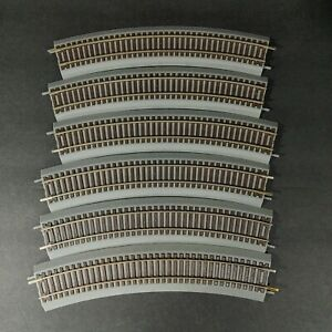 Atlas Code 83 True Track 18 Radius Curved Track Lot of 6 Gray Roadbed Brown Ties