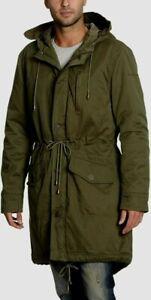 CALVIN KLEIN JEANS Green hooded FISHTAIL Long PARKA COAT khaki canvas MENS