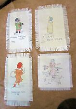 4 Antique Hand-Made All-Silk FOLK ART 'CARDS'; ca1885, Children - Montana Estate