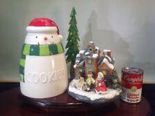 Vtg. Large Porcelain Winter/Christmas Music Box & Snowman Cookie Jar